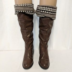 Francesca's faux leather /fabric calf tall boots 7